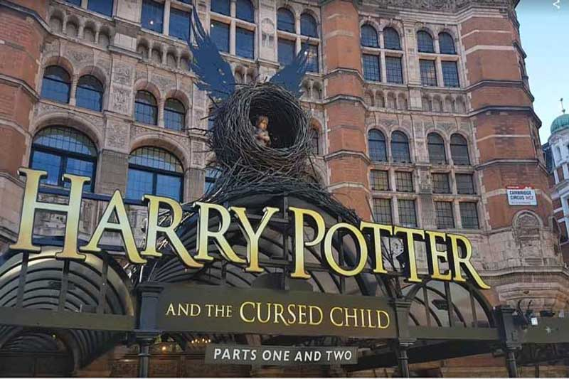 The sign for Harry Potter and the Cursed Child.