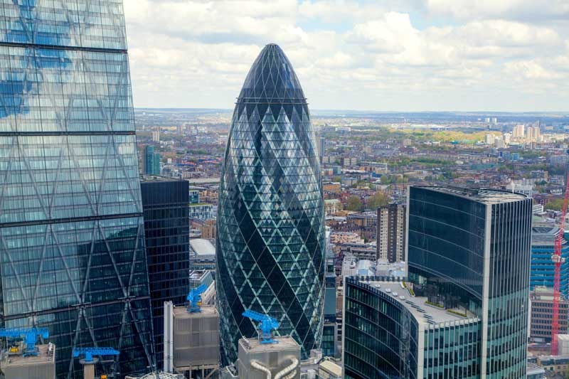 A view of the Gherkin and other City of London buildings.