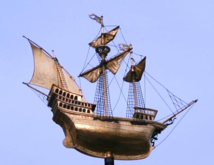 The Golden Weather vane ship.