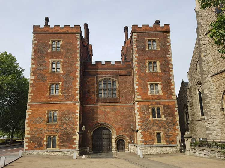 The red-brick gatehouse of Lambeth Palace.