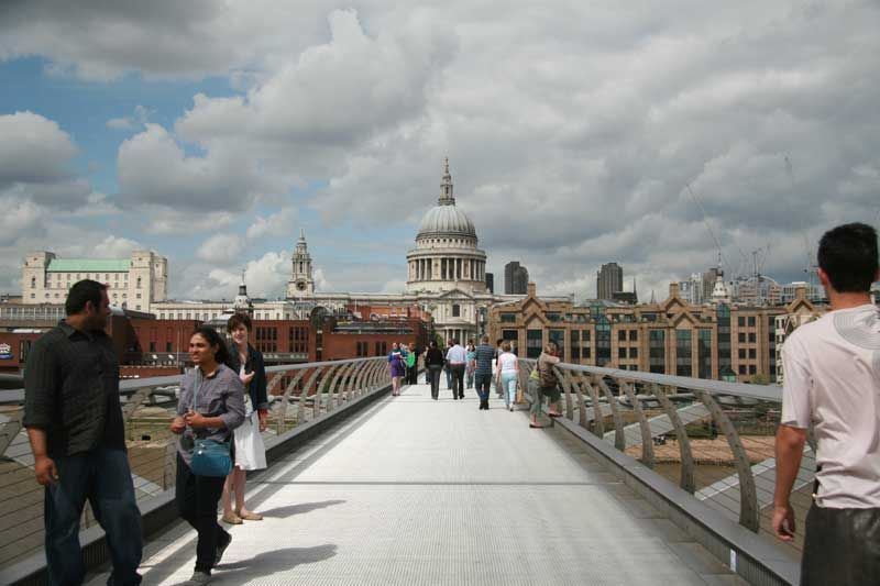 Looking over the Millennium Bridge to St Paul's Cathedral.