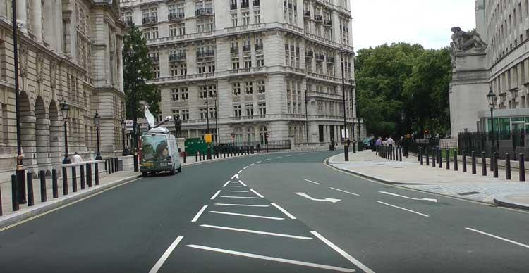 The lines in the road where the staff entrance to the Ministry of Magic was located.