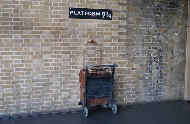 The sign for Platform nine-and-three-quarters.