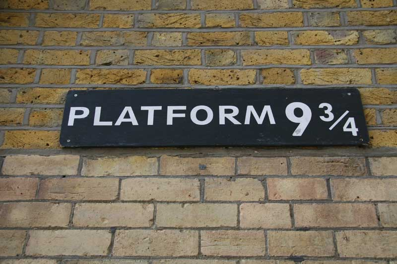 The sign for platform nine and three quarters..