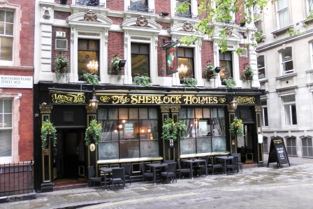 The exterior of the Sherlock Holmes Pub.