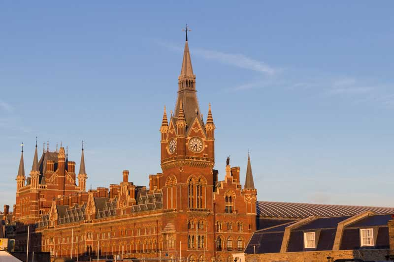 A photograph of the exterior of St Pancras Railway Station.