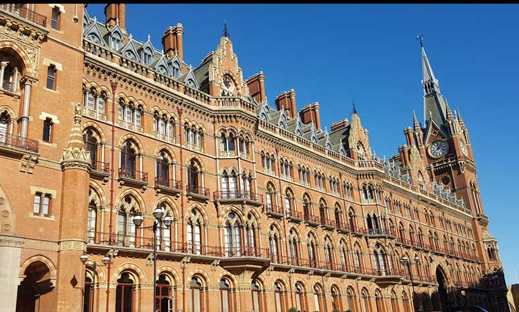 The exterior of St Pancras Station.
