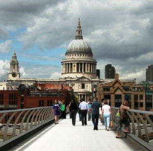 St Paul's Cathedral seen over the Millennium Bridge.